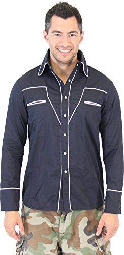Superbad Seth Button-Down Cowboy Party Costume Shirt (Adult Medium) Navy Blue