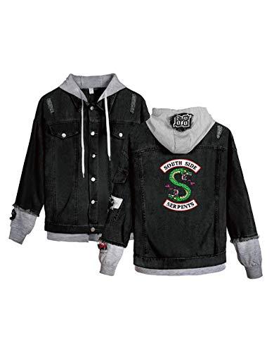 Riverdale Southside Serpents Jacke Damen, Teenager Mädchen Denim Jacket Unisex Herren Coole Jeansjacke Pullover Frauen Winterjacke Männer Kapuzen Sweatshirt Jäckchen Hoodie Outwear (C-Schwarz-G,2XL)