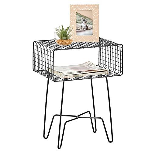 mDesign Mesita auxiliar de metal pequeña – Elegante mesa auxiliar vintage para el salón o el dormitorio – Mesa de centro con moderno diseño de horquilla – negro