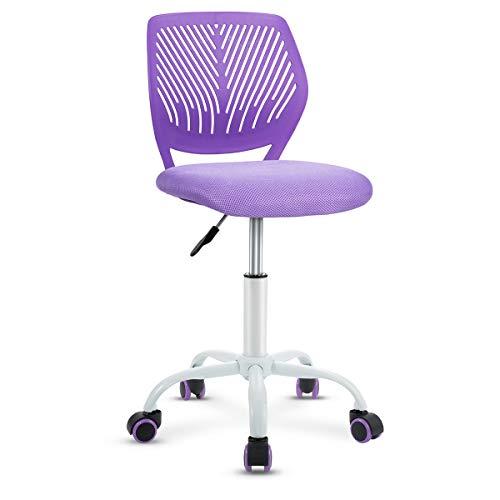 Giantex Kids Desk Chair, Adjustable Children Study Chair, Swivel Chair Armless Mesh Task Student Chair, Child Desk Chair with Adjustable Height & Lumbar Support Computer Chair (Purple)