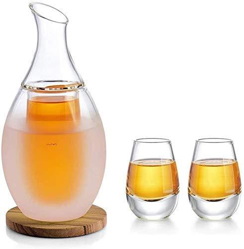 KAYBELE Whisky Decanter Sake Set Glasses, 8.5 onzas Sake Cúpula de Jarra con 4 Tazas para Vino más cálido o frío con Conjuntos de Regalo de montaña de Piedra