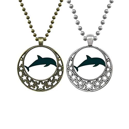 Blue Ocean Streamline Schwimmender Delfin-Liebhaber-Halskette Anhänger Retro Mond Sterne Schmuck