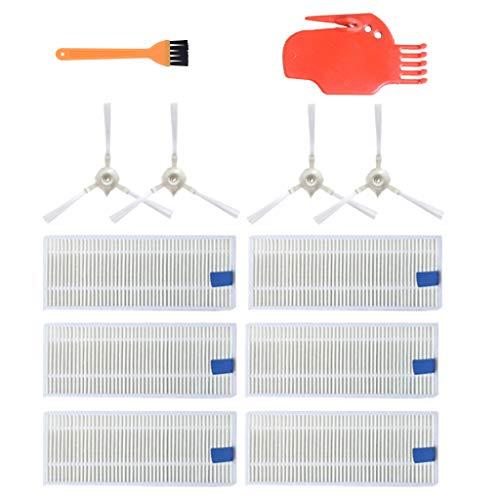 für 360 S6 Saugroboter Zubehör Ersatzteile Bürste Filter Mop Set ,12 Stück (4 Seitenbürsten+ 6 Hepa-Filter + 2 kleiner Pinsel) für 360 S6 Sweeping Robot Vacuum Cleaner Ersatzfilter Staubsaugerbürste