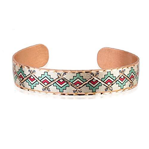 Pulseras finas aztecas para unisex, patrón repetitivo de color zafiro 'pasos' unido a dos líneas de zig-zag. Una línea de zig-zag superpuesta de cobre brillante tira juntos el diseño.