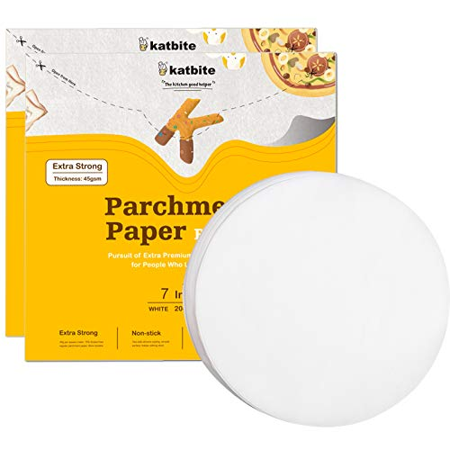 "Katbite Heavy Duty Parchment Rounds 7""x200 Pcs, 2-Pack, 4""6""8""9""10""12"" Parchment Paper Rounds Optional, Uses for Cake Baking, Air Fryer Liner"