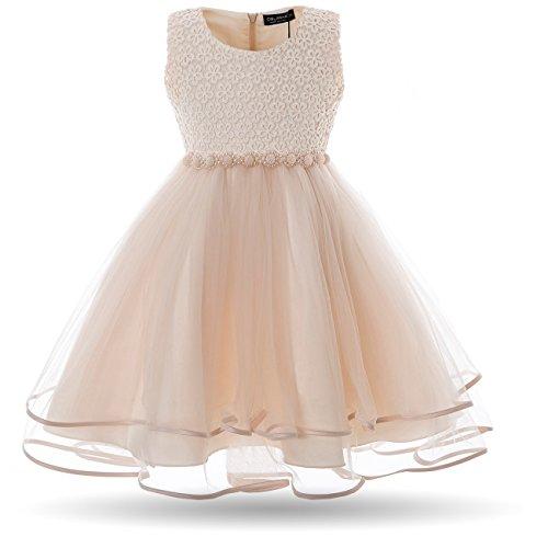 CIELARKO Mädchen Kleid Blumen Perlen Festlich Hochzeits Blumenmädchen Kleider, Gelb, 4-5 Jahre
