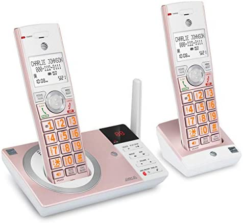 AT T CL82257 DECT 6 0 Expandable Cordless Phone with Answering System and 2 Handset Rose Gold product image