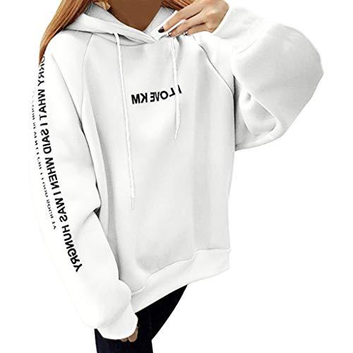 Longra Dames-pullover met capuchon, casual, bedrukt, lange mouwen, top, haarband met letterprint en bovendeel met dikke truien, casual tops