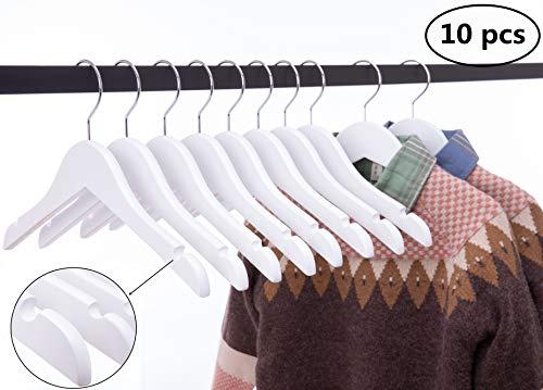 Cocomaya Kleiderbügel aus Holz, für Kinder und Kleinkinder, mit 360 drehbarem Haken, 10 Stück, 32 cm, Weiß, 30 cm