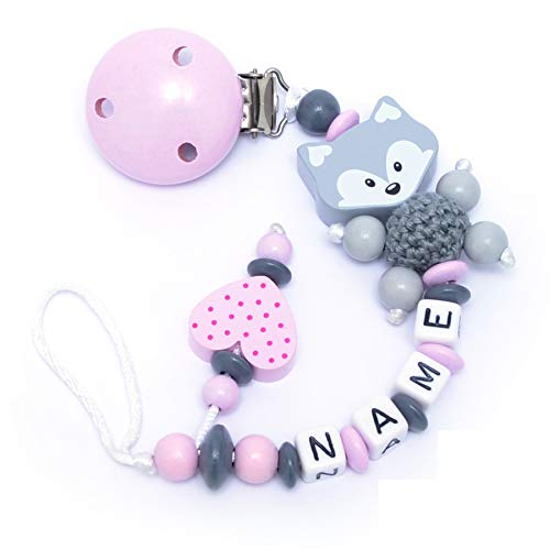 Baby SCHNULLERKETTE mit NAMEN - Schnullerhalter mit Wunschnamen - Mädchen Motiv Fuchs und Herz in rosa