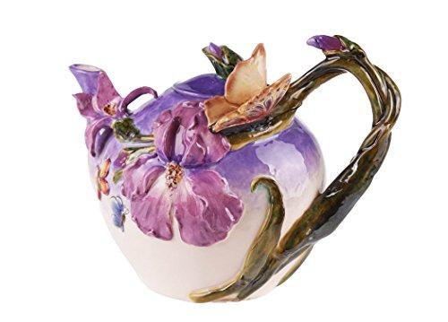 Blue Sky Ceramic Blue Bella Violet Butterfly Teapot, 9.5 x 6 x 7'