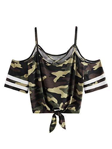 SweatyRocks Women's Knotted Cold Shoulder T Shirt Criss Cross Crop Tops Camo M