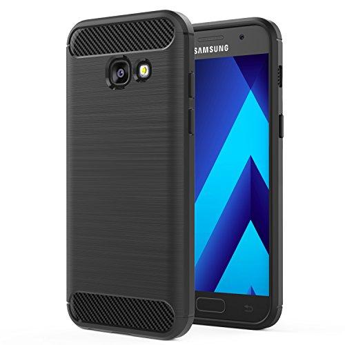 MoKo Compatibile con Samsung Galaxy A3 2017 Case, Custodia Protettiva Morbido TPU Design in Fibra di Carbonio con Doppio Stratto Shock-Assorbente per Galaxy A3 2017, Nero (Non per Galaxy A3 2016)