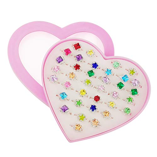 SUNMALL 36 pcs Little Girl Adjustable Rhinestone Gem Rings in Box, Children Kids Jewelry Rings Set...