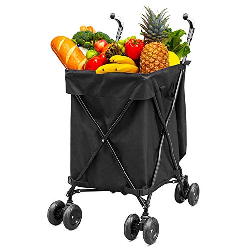 XYYZX Lightweight Shopping Trolley Folding 8 Wheel Large Capacity Shopper Wear-Resistant Noiseless 360°Rotate Wheel & Adjustable Aluminum Alloy Handle Folding Boot Cart,Black
