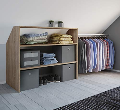 VCM Kleiderschrank Wandständer Dachschräge Kleider Regal Garderobe Dacho Sonoma-Eiche