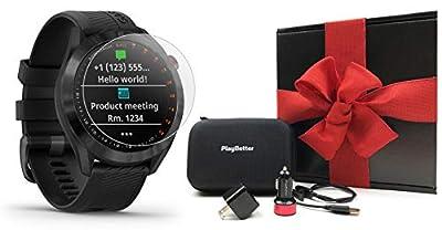 Garmin Approach S40 Stylish Golf GPS Smartwatch Bundle | Includes PlayBetter Pitchfix Divot Tool & HD Screen Protectors | 41,000+ Courses