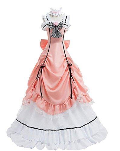 LYLAS Women's Cosplay Costume Pink Long Dress Party Dress Suit Outfit (Female-Large)