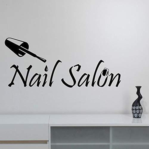 HFDHFH Salón de uñas Logo Tatuajes de Pared Moda Chica manicura Vinilo Pegatinas para Puertas y Ventanas Estudio de Belleza Arte decoración de Interiores Papel Tapiz