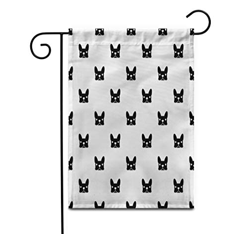 Awowee 28'x40' Garden Flag Frenchie French Bulldog Puppy Face Animal Black Canine Cartoon Outdoor Home Decor Double Sided Yard Flags Banner for Patio Lawn