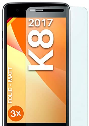 moex Schutzfolie matt kompatibel mit LG K8 (2017) - Folie gegen Reflexionen, Anti Reflex Bildschirmschutz, Matte Bildschirmfolie - 3X Stück
