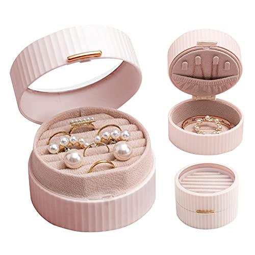 Asion Estuche de almacenamiento portátil para collares, pulseras, pendientes, anillos, organizador de joyas, estuche de viaje pequeño, ideas para el día de San Valentín para mujeres y niñas (rosa)