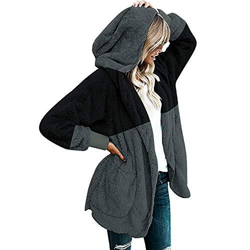 ESAILQ-Capa Abrigo de Abrigo de Abrigo con Capucha de Gran tamaño con Bolsillos drapeados con Capucha y Frente Abierto de Invierno para Mujer