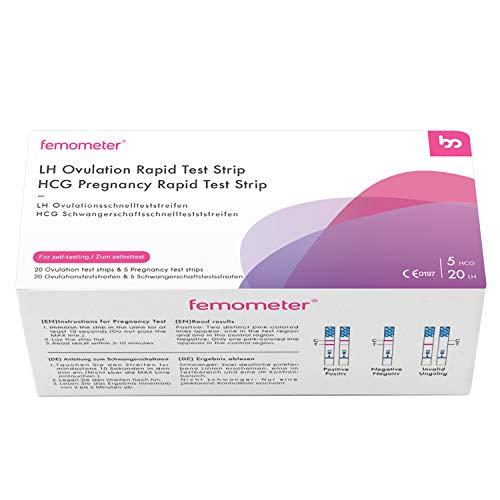 Femometer 20 ovulationstest + 5 Schwangerschaftstest 25 miu/ml optimaler Sensitivität