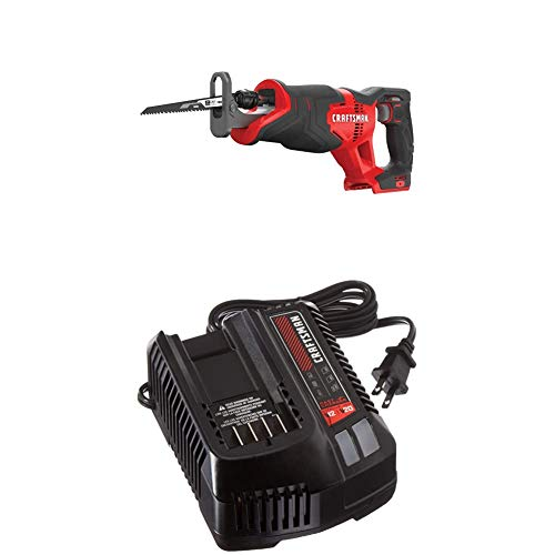 CRAFTSMAN V20 Reciprocating Saw, Cordless with Fast Charger, Battery Sold Separately (CMCS300B & CMCB104)