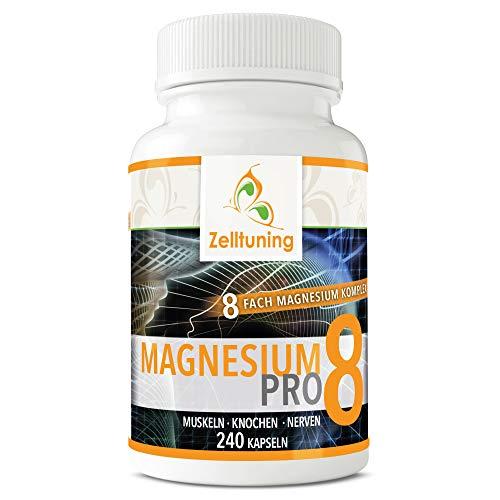 Zelltuning Magnesium-Komplex Pro 8, OPTIMAL BIOVERFÜGBAR, hochdosiert mit natürlichen Spurenelementen, ideal als Vitamin D-Aktivator geeignet, 240 kleine Kapseln, leicht zu schlucken. Vegan.