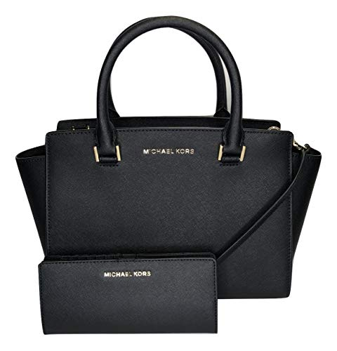 MICHAEL Michael Kors Selma MD TZ Satchel bundled with Jet Set Travel Slim Bifold Wallet (Black)