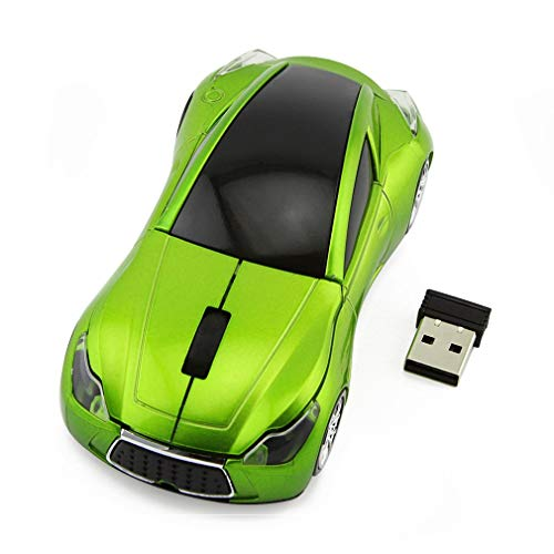 Sport Car Shape Mouse 2.4GHz Wireless Optical Gaming Mice 3 Buttons DPI 1600 Mouse for PC Laptop Computer (Green)