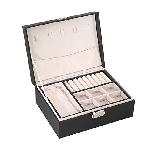 YHDNCG Caja de joyería,Caja de almacenamiento de pendientes de cuero PU,Caja de maquillaje portátil de múltiples capas,Estuche de reloj,Soporte de