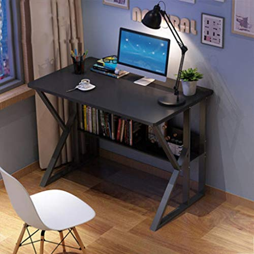 Yinguo Modern Corner Computer Desk, K Shaped Gaming PC Laptop Desktop Table, Compact Sturdy Student Study Reading Writing with Storage Shelf Rack for Adults Home Office Bedroom Workstation (Black)