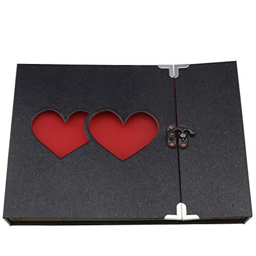 1 álbum de fotos, álbum de recortes, forma de corazón, álbum de fotos, pegatinas, diario, boda, cumpleaños, regalo, estilo