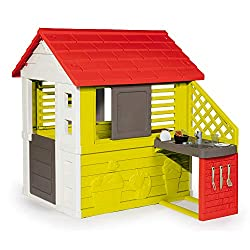 Bring originality to your garden with the ii Nature House with Smoby Kitchen This toy house is perfect for indoor and outdoor use due to its size and strength. The natural house with kitchen comes equipped with 2 sliding windows, an open window on th...