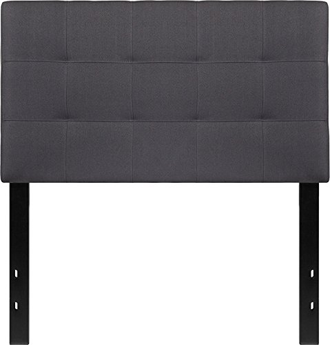 Contemporary Tufted Fabric Upholstery Twin Size Panel Headboard - Includes Modhaus Living Pen (Dark Gray)