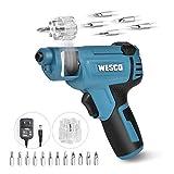 WESCO Cordless Screwdriver, Electric Screwdriver 4V Max 1.5Ah Rechargable Battery, 12 Pcs Screwdriver Bits, Front LED, Mini Screw Guns, Multifunctional Tools/WS2013U
