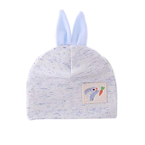 E-House Bonnet en coton pour bébé avec oreilles de lapin Jaune - Bleu - Taille Unique