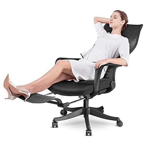 MFAVOUR Bürostuhl, Ergonomischer Bürostuhl mit Fußstütze, Drehstuhl mit Verstellbarer Lordosenstütze, Armlehne und 170º Verstellbare Rücklehne, Maximale Belastung 130 kg