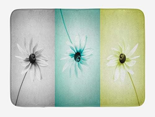 Yaoni Abstracte badmat madeliefje bloemen in verschillende aanbevolen ingelijste verzadigde afbeelding pluche badkamer decor mat met antislip rug turquoise grijs