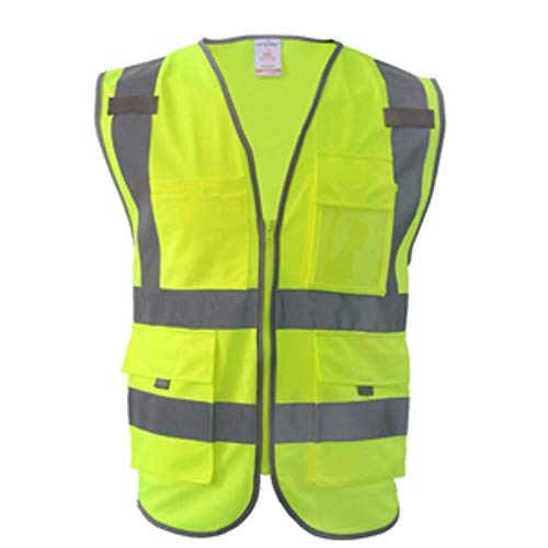Reflecterend vest veiligheidsvest reflecterend veiligheid reflecterend vest heren veiligheid werkkleding gereedschapstas geel blauw vest L-Chest118cm Hi Vis Yellow.