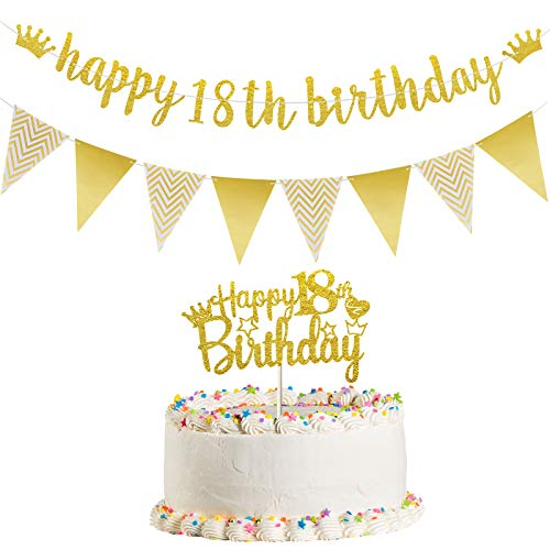 Happy 18th Birthday Banner Happy 18th Birthday Cake Topper Glitter Triangle Flag Banner for Adult Birthday Party Supplies 18 Years Old Party Decorations, Pre-Strung (Gold)
