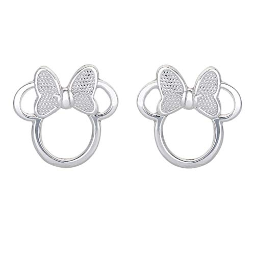 Disney Sterling Silver Minnie Mouse Stud Earrings (Silver/Silver)