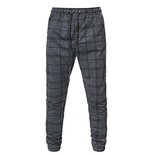 U/A - Pantalones largos para hombre, informales, ajustados, a cuadros, para correr, para otoño e invierno Gris gris XL