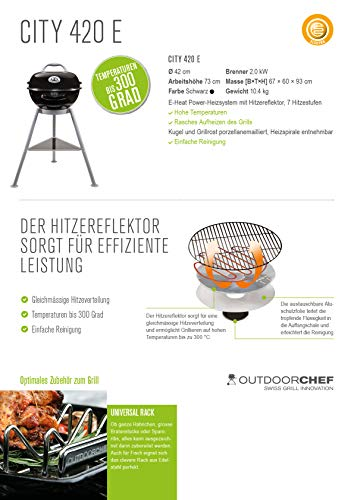 Outdoorchef CITY 420 E schwarz BBQ Elektrogrill Kugelgrill - 7