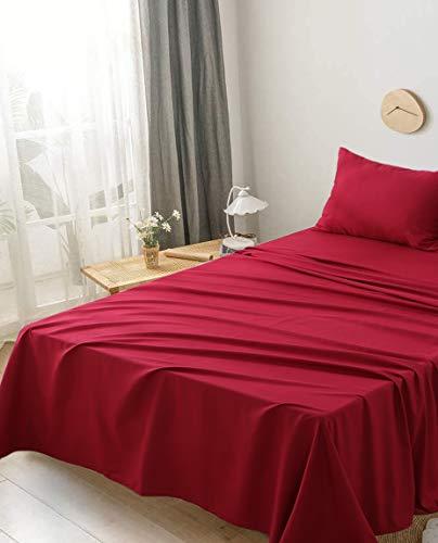 Aisbo - Juego de sábanas con Funda de Almohada, Cama Individual, 50 x 80 cm, Burdeos