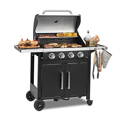 KLARSTEIN Tomahawk 4.0 T - Barbecue à gaz, 4 brûleurs en INOX, 4X 3,2 KW / 932 g/h, Allumage Piézo intégré, Répartition Uniforme de la Chaleur, Thermomètre intégrée, INOX antirouille