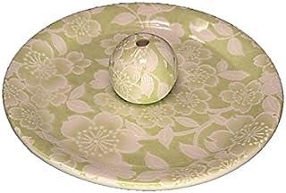9-37 桜友禅 緑 9cm香皿 お香立て お香たて 陶器 日本製 製造?直売品