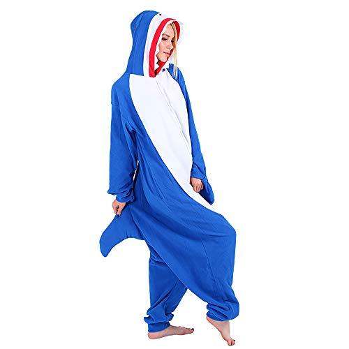 Mallalah Pijamas de Tiburón Unisex para Adultos Traje de Pijama de Animal Pijama de Felpa con Capucha Cosplay (M)